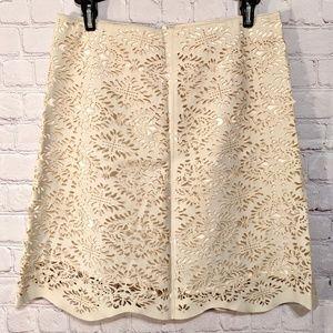 Zara Woman Cream Cut Out Mini Skirt Sz XS EUC